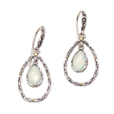 Gold Accented Blue Chalcedony Dangle Earrings from Bali