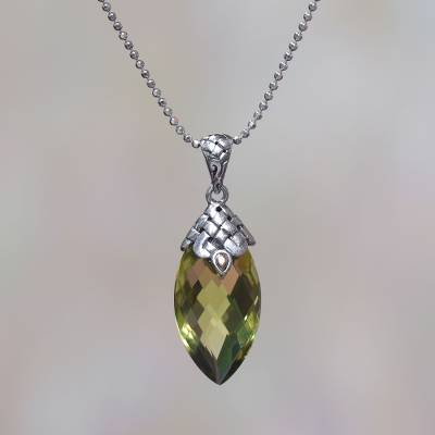Gold accented quartz pendant necklace, 'Pure Sparkle' - Gold Accented 20-Carat Quartz Pendant Necklace from Bali