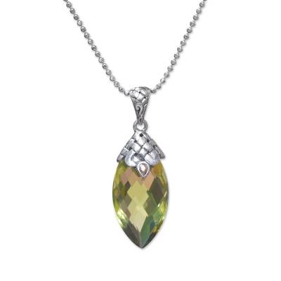 Gold Accented 20-Carat Quartz Pendant Necklace from Bali