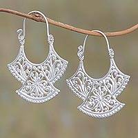 Sterling silver plated drop earrings, 'Alam Kintamani' - Curved Silver Plated Drop Earrings from Bali