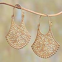 Gold plated brass drop earrings, 'Alam Bali' - Openwork 18k Gold Plated Brass Drop Earrings from Bali