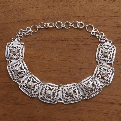 Sterling silver filigree link bracelet, 'Beautiful Squares' - Sterling Silver Filigree Square Link Bracelet from Java