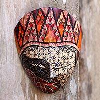 Batik wood mask, 'Wise Princess' - Batik Wood Mask in Red and Orange from Java