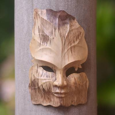 Wood mask, 'King Leaf' - Leaf-Themed Hibiscus Wood Mask from Indonesia