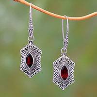 Garnet dangle earrings, 'Sanur Elegance' - Weave Pattern Garnet Dangle Earrings from Bali