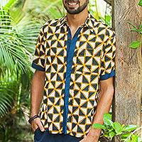 Men's batik cotton shirt, 'Bold and Confident' - Triangle Motif Men's Batik Cotton Shirt from Bali