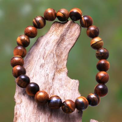 Tiger's eye beaded stretch bracelet, 'Caramel Pebbles' - Tiger's Eye Beaded Stretch Bracelet from Bali