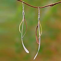 Gold and rose gold accented sterling silver dangle earrings, 'Jimbaran Tendrils' - Gold and Rose Gold Accent Sterling Silver Earrings from Bali