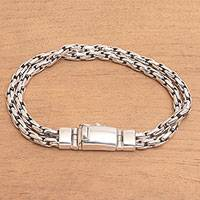 Sterling silver chain bracelet, 'Strong Together' - Sterling Silver Rope Chain Bracelet from Bali