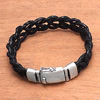 Leather braided wristband bracelet,