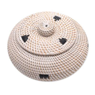 Handwoven Bamboo and Plastic Lidded Basket from Bali