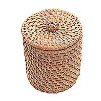 Bamboo and natural fiber mini basket, 'Lombok Helper' - Handwoven Bamboo and Natural Fiber Mini Basket from Bali