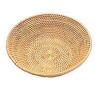 Bamboo and natural fiber basket, 'Trawangan Waves' - Bamboo and Natural Fiber Round Basket from Bali