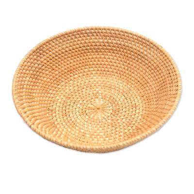 Bamboo and Natural Fiber Round Basket from Bali