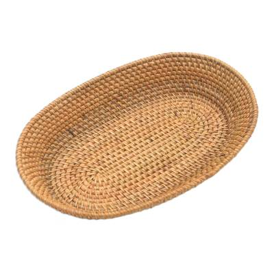 Bamboo and Natural Fiber Oval Basket from Bali
