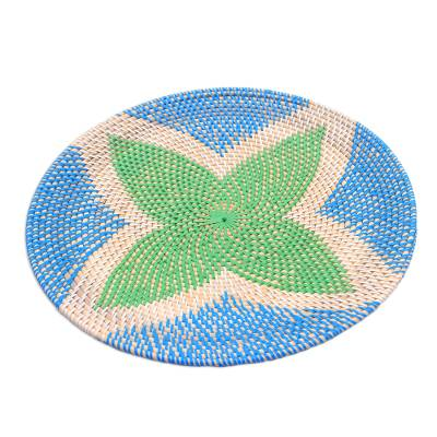 Bamboo and Plastic Tray in Green and Blue from Bali
