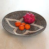 Bamboo and plastic tray, 'Four Leaves in Black' - Bamboo and Plastic Tray in Black from Bali