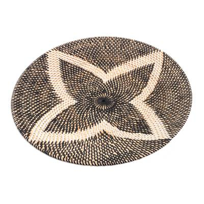 Bamboo and Plastic Tray in Black from Bali