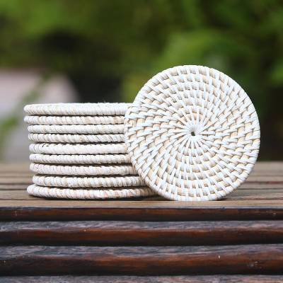 Bamboo and plastic coasters, 'Lombok Circles in White' (set of 10) - Bamboo and Plastic Coasters in White from Bali (Set of 10)