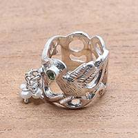 Cultured pearl and peridot cocktail ring, 'Soaring Free' - Cultured Pearl Peridot Sterling Silver Bird Cocktail Ring