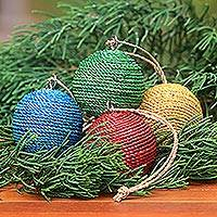 Natural fiber ornaments, 'Colorful Orbs' (set of 4) - Round Natural Fiber and Wood Ornaments from Bali (Set of 4)