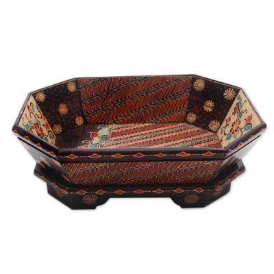 Hand-Painted Parang Motif Batik Wood Catchall from Java