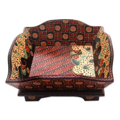 Parang Motif Batik Wood Catchall Crafted in Thailand