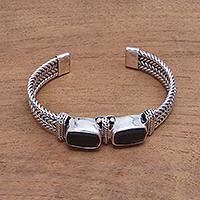 Smoky quartz cuff bracelet,
