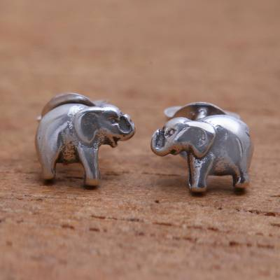 Sterling silver stud earrings, Mini Elephants
