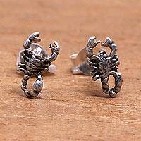 Sterling silver stud earrings, 'Bedugul Scorpion' - Sterling Silver Scorpion Stud Earrings from Bali