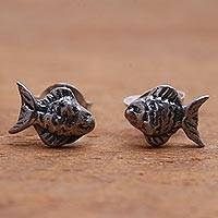 Sterling silver stud earrings, 'Sanur Fish' - Sterling Silver Fish Stud Earrings from Bali