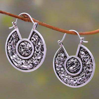 Sterling silver drop earrings, 'Kintamani Contour' - Modern Sterling Silver Drop Earrings Crafted in Bali