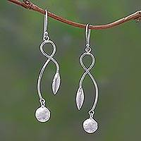 Sterling silver dangle earrings, 'Leafy Fruit' - Sterling Silver Dangle Earrings Handcrafted in India