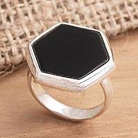 Men's onyx ring, 'Hexagon Mystery' - Men's Hexagonal Onyx Ring from Bali