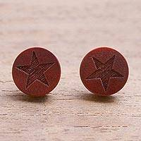 Wood stud earrings, 'Fascinating Stars' (large) - Star Motif Sawo Wood Stud Earrings from Bali (Large)