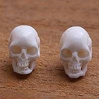 Bone stud earrings, 'Trunyan Skulls' - Skull-Shaped Bone Stud Earrings Crafted in Bali