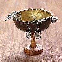 Coconut shell jewelry stand, 'Golden Cup' - Coconut Shell and Albesia Wood Jewelry Stand from Bali