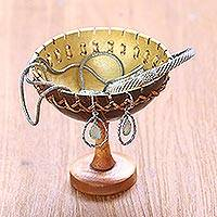 Coconut shell jewelry stand, 'Personal Treasure' - Coconut Shell Jewelry Stand Crafted in Bali