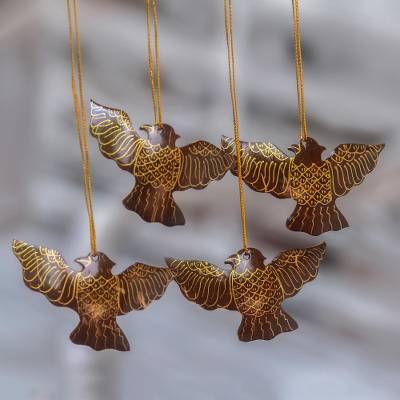 Coconut shell ornaments, 'Sacred Doves' (set of 4) - Coconut Shell Dove Ornaments from Bali (Set of 4)
