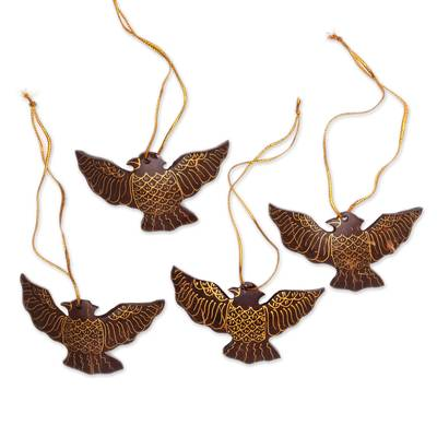 Coconut Shell Dove Ornaments from Bali (Set of 4)