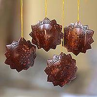 Coconut shell ornaments, 'Tegalalang Sun' (set of 4) - Handmade Sun Coconut Shell Ornaments from Bali (Set of 4)