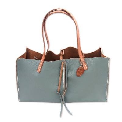 Handmade Leather Handbag in Tiffany Blue from Bali