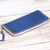 Leather clutch, 'Navy Ocean' - Handmade Leather Clutch in Solid Navy from Bali