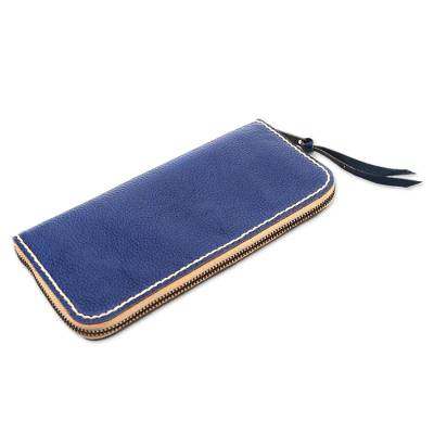 Handmade Leather Clutch in Solid Navy from Bali