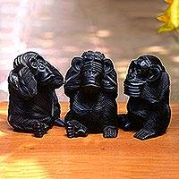 Wood sculptures, 'Helpful Monkeys' (set of 3) - Hand-Carved Monkey Maxim Sculptures from Bali (Set of 3)