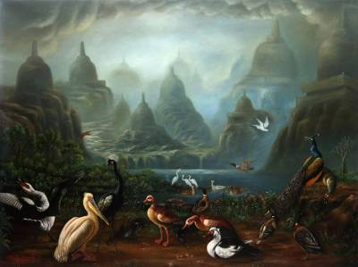 'Nature of Peace I' (2016) - Signed Surrealist Landscape Painting from Java (2016)