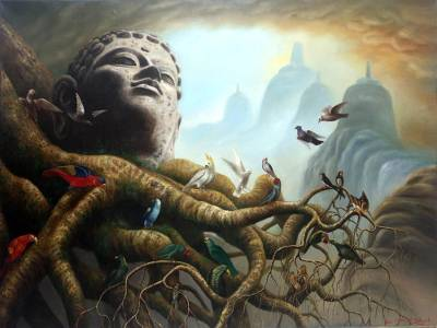'Tweet About Peace' (2016) - Buddha-Themed Signed Surrealist Painting from Java (2016)