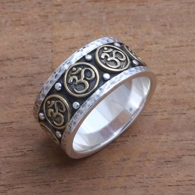 Men's sterling silver and brass band ring, 'Blessed Omkara' - Men's Sterling Silver and Brass Om Band Ring from Bali