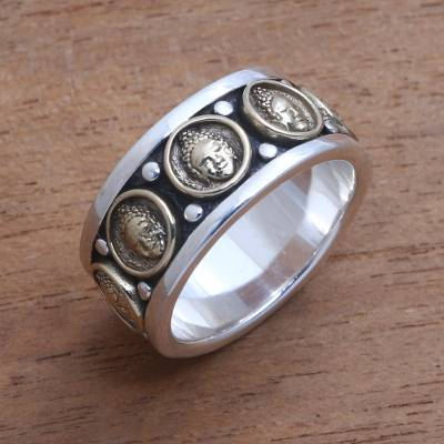 Men's sterling silver and brass band ring, 'Buddha Meditation' - Men's Sterling Silver and Brass Buddha Band Ring from Bali