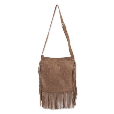 Fringed Leather Shoulder Bag in Taupe from Bali